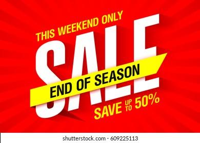 End of season sale banner template vector illustration