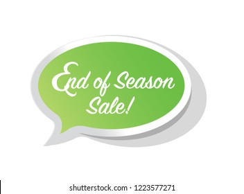 End of season sale, bright message bubble isolated over a white background