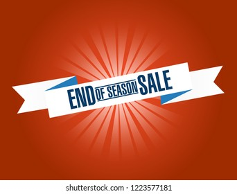 End of season sale, bright ribbon message isolated over a blue background