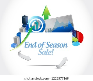 End of season sale, Business graph success concept illustration isolated over a white background