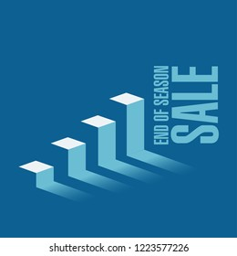 End of season sale, business graph message concept isolated over a blue background