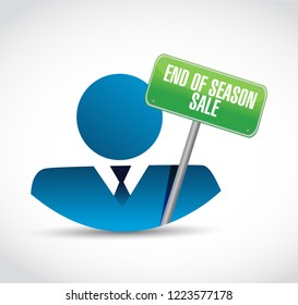 End of season sale, businessman communication concept illustration isolated over a white background