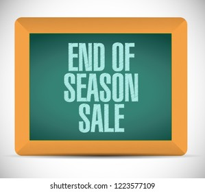 End of season sale, chalkboard message concept illustration isolated over a white background
