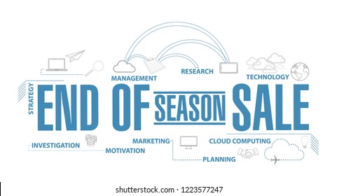 End of season sale, diagram plan concept isolated over a white background