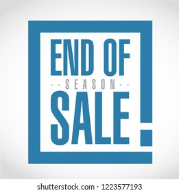 End of season sale, exclamation box message  isolated over a white background