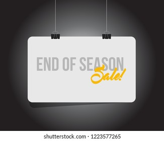 End of season sale, hanging banner message  isolated over a black background