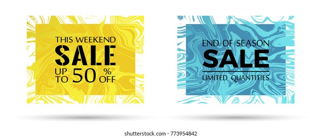 End of season sale, limited quantities and up to 50% off text. Fashionable marble texture vector frames. This weekend sale with up to 50 percent off advertising. Banners set in trendy marble design.