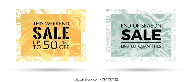 End of season sale, limited quantities and up to 50% off text. Futuristic marble texture vector frames. This weekend sale with up to 50 percent off advert. Marketing banners in trendy marble design.