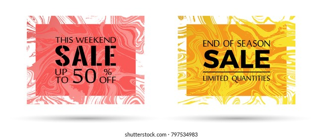 End of season sale, limited quantities and up to 50 off text. VIP marble texture vector frames. This weekend sale with up to 50 percent off advertising. Banners in trendy marble design.