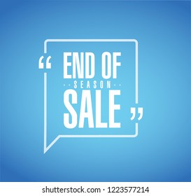 End of season sale, line quote message concept isolated over a blue background