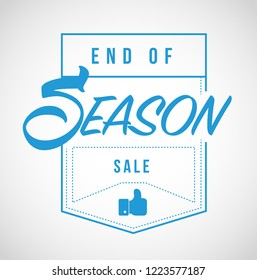 End of season sale, Modern stamp message design isolated over a white background