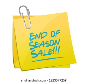 End of season sale, post it message concept illustration isolated over a white background