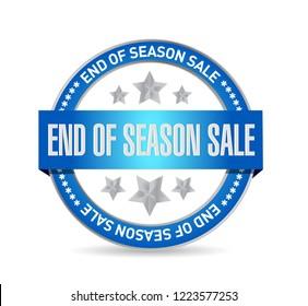 End of season sale, seal stamp message concept illustration design background