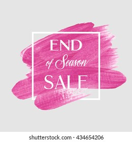 End of season sale sign over grunge background. Perfect watercolor design for a shop and sale banners.