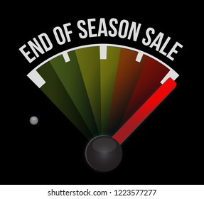 End of season sale, speedometer message concept illustration isolated over a black background