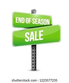 End of season sale, Street sign message concept illustration isolated over a white background