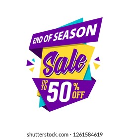 End Of Season Sale. Super Sale paper banner. Super Sale and special offer. 50% off