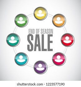 End of season sale, teamwork communication concept illustration isolated over a white background