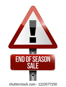 End of season sale, warning  Street sign message concept illustration isolated over a white background