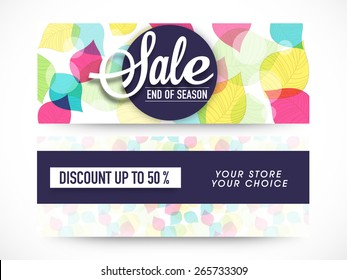 End of Season Sale, website header or banner set decorated with colorful floral leaves.