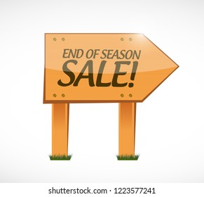 End of season sale, wood sign concept illustration isolated over a white background