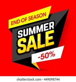 End of season summer sale banner, poster. Big sale, 50% off. Vector illustration.