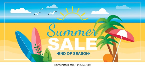 End of Season Summer Sales Lettering Marketing Promotion. Advertising Banner Design Template. Cartoon Vector Beach and Announcing Text Surrounded Palms and Surfboard. Flat Seaside Illustration