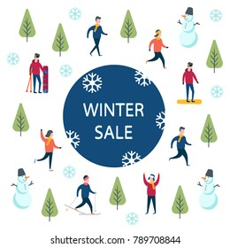 End of season winter sale. Winter sport activities shopping.