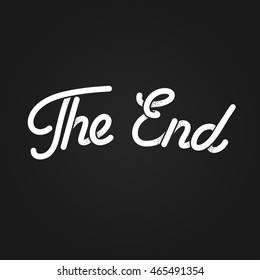 The End, stylized vintage lettering. Black and white retro movie ending screen. Old cartoon vector background.