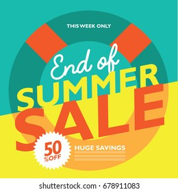 End of Summer Clearance marketing design background. EPS 10 vector.