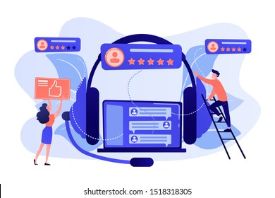 End user with magnifier finding information in laptop with headset. Customer self-service, e-support system, electronic customer support concept. Pink coral blue vector isolated illustration