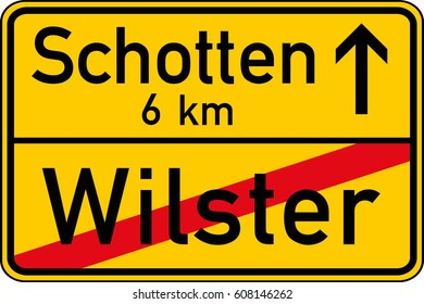 The end of the village. Vector road sign Germany.