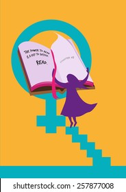 End Women Illiteracy Campaign design. A figure of lady flips pages of a book and read to stop illiteracy in general and end to injustice of women's rights. Vector Eps10 and jpg.