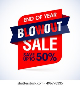End of year blowout sale banner. Special offer, big sale, save up to 50%. Vector illustration.