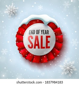 End of year sale banner with red ribbon, snow cap and snowflakes. Round badge. Vector illustration.