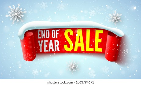 End of year sale banner with red ribbon, snow cap and snowflakes. Vector illustration.
