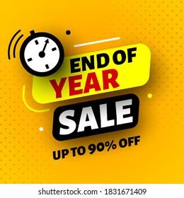 End of year sale banner. Vector illustration.