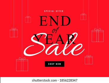 End of year sale poster or flyer design. Year end sale with gift box on red background.