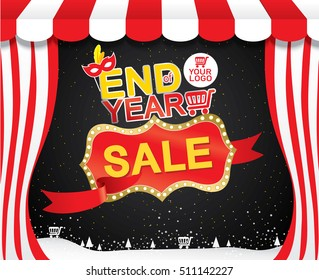 End of year sale, Sale promotions, Template background size A4, A5, Vector EPS10.