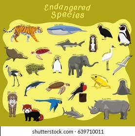 Endangered Species Animal Set Cartoon Vector Illustration