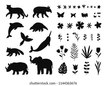 Endangered species, animals and flowers, isolated vector illustrations set