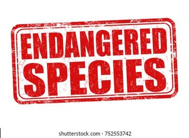 Endangered species grunge rubber stamp on white background, vector illustration