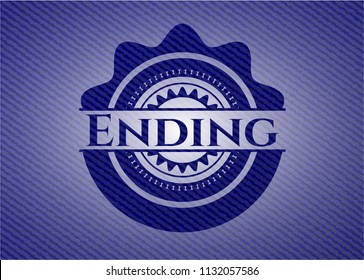 Ending badge with denim background