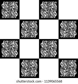 Endless abstract background with black and white squares. Vector seamless vintage mosaic pattern