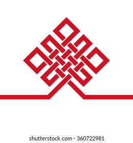 Endless Auspicious knot icon. China, Tibet, Eternal, Buddhism and Spirituality icon, symbol. Vector red sign, card, template. Feng  Shui traditional element, geometric ornament. For logo, design project