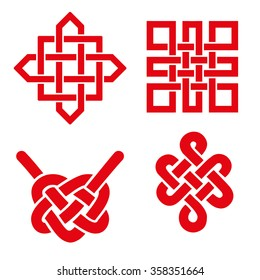 Endless Auspicious knot set.China ornament,symbol,Tibet, Eternal ,Buddhism and Spirituality icon,symbol.Vector red sign.Feng  Shui element,geometric ornament.Sacred geometry.For logo, design project