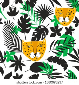 Endless background with jungle leaves and tropical animals. Vector pattern of wild cats - leopards, best for baby room decoration or funny prints on kids fabric.