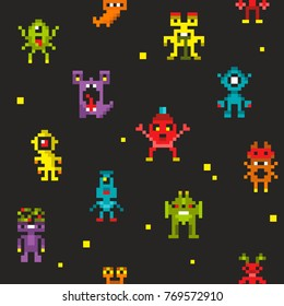 Endless backkground of pixel robots and  monsters. Vector illustration with retro creatures.