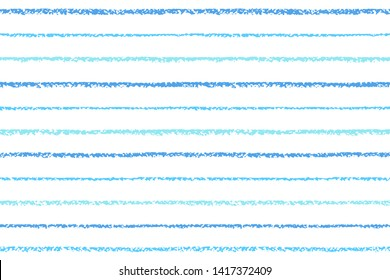 Endless blue textured chalk, crayon drawn stripes rectangle background, border template. Seamless vector striped pattern. Parallel hand brush drawn thin bars, narrow streaks, lines, pinstripes texture