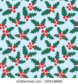 Endless Christmas Pattern. Holly Berries Background. Vector.